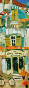 "SOLD ""Chez Tommy,"" by Claudette Castonguay 8 x 24 – acrylic $560 Unframed"