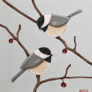 "SOLD ""Chickadees I,"" by Peter Wyse 8 x 8 - acrylic on birch $385 (unframed panel with 1 1/2"" edging)"