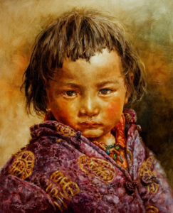 "SOLD ""Child of Fortune,"" by Donna Zhang 24 x 30 – oil $5200 Custom framed $5140 with standard frame"