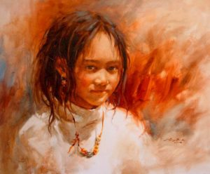 "SOLD ""Child of Light,"" by Donna Zhang 20 x 24 – oil"