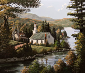 "SOLD ""Church by the Lake,"" by Bill Saunders 12 x 14 – acrylic $1300 Unframed $1535 Custom framed"