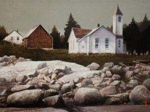 "SOLD ""Church on the Rocks,"" by Alan Wylie 12 x 16 – acrylic $2630 Framed"