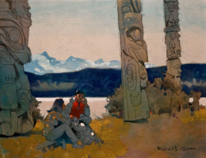 "SOLD ""Cigarette Break (Queen Charlotte Islands, Haida Gwaii, B.C.),"" by Robert Genn 14 x 18 – acrylic $4100 Unframed"