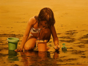 """SOLD """"Clam Digging,"""" by Don Li 12 x 16 – oil $1250 Unframed"""