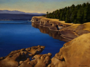 "SOLD ""Cliffs of Helliwell,"" by Ray Ward 12 x 16 – oil $860 Unframed"
