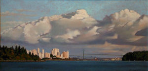 "SOLD ""Clouds Over the Lions Gate,"" by Ray Ward 12 x 24 – oil $1230 Framed"