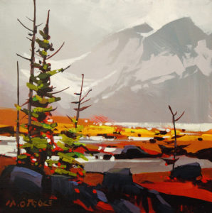 """SOLD """"Cold Day at the Columbia Ice Fields,"""" by Michael O'Toole 12 x 12 – acrylic $815 Framed"""
