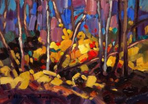 "SOLD ""Coloured Puzzle,"" by Phil Buytendorp 5 x 7 – oil $490 Framed"