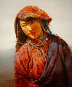 "SOLD ""Colourful Veil,"" by Donna Zhang 30 x 36 – oil"