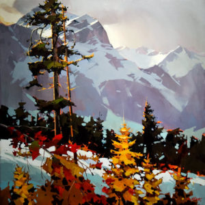 "SOLD ""Colours Along the Columbia Icefield Parkway,"" by Michael O'Toole 40 x 40 – acrylic $5340 Unframed"