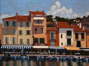 "SOLD ""Colours of Cassis,"" by Ray Ward 18 x 24 – oil $1625 Framed"