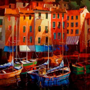 "SOLD ""Colours of the Riviera,"" by Michael O'Toole 36 x 36 – acrylic $3260 Framed"