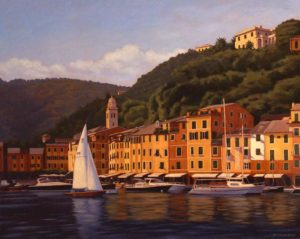 "SOLD ""Colours of the Riviera,"" by Ray Ward 24 x 30 – oil $2350 Framed"