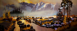 "SOLD ""Columbia Icefields Parkway,"" by Michael O'Toole 30 x 72 – acrylic $7100 Custom framed"