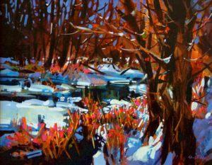 """SOLD """"The Coming of Spring,"""" by Michael O'Toole 14 x 18 – acrylic $940 Framed"""
