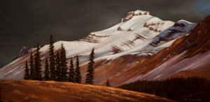"SOLD ""Conifer Stand, Rockies,"" by Ray Ward 8 x 16 – oil $825 Unframed"