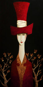 "SOLD ""Constance and the Red Hat,"" by Danny McBride 24 x 48 – acrylic $4100 (thick canvas wrap without frame)"