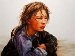 "SOLD ""Contemplation,"" by Donna Zhang 36 x 48 – oil $9300 Unframed"