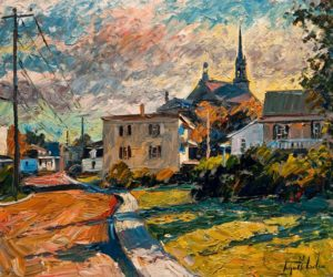 "SOLD ""Contre Jour (Château Richer),"" by Raynald Leclerc (Backlighting, Château Richer) 20 x 24 – oil $2200 Unframed"