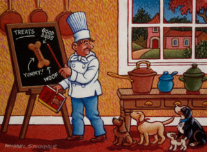 "SOLD ""Cooking School for Pups,"" by Michael Stockdale 9 x 12 – acrylic $440 Unframed"