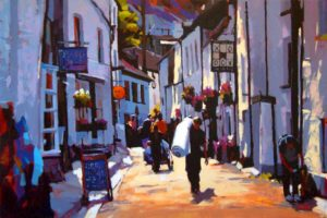 """SOLD """"Cornwall, England,"""" by Mike Svob 24 x 36 – acrylic $3850 Framed"""