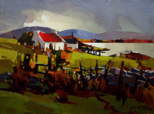 "SOLD ""Cottage, County Mayo,"" by Michael O'Toole 12 x 16 – acrylic $880 Unframed"