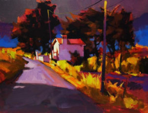 """SOLD """"Cottage in Provence,"""" by Mike Svob 14 x 18 – acrylic $1525 Framed"""