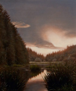 "SOLD ""Cottle Lake Sky,"" by Ray Ward 10 x 12 - oil $810 Unframed $1020 in show frame"