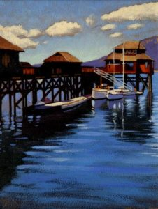 "SOLD ""Cowichan Bay,"" by Ray Ward 8 x 10 – oil $650 Framed"