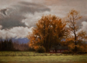 "SOLD ""Cowichan Farm,"" by Ray Ward 9 x 12 – oil $750 Unframed"