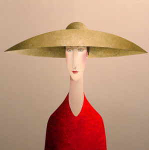 "SOLD ""Cream Hat,"" by Danny McBride 36 x 36 – acrylic $4300 (thick canvas wrap without frame)"