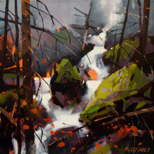 """SOLD """"Creek in Lions Bay,"""" by Michael O'Toole 12 x 12 – acrylic $895 Framed"""