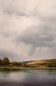 "SOLD ""Cresting Storm Over Corbett Lake,"" by Renato Muccillo 24 x 36 – oil"