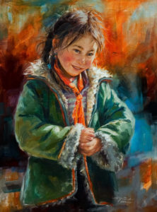 "SOLD ""Curious Smile,"" by Donna Zhang 18 x 24 – oil $3800 Custom framed $3460 in standard frame"