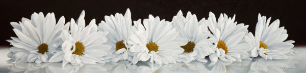 "SOLD ""Daisy Chain,"" by Mickie Acierno 12 x 48 - oil $3000 in show frame $2625 Unframed"