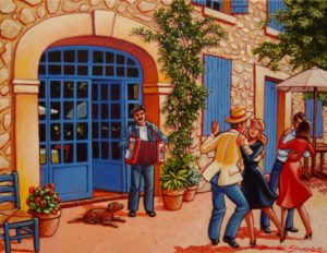 "SOLD ""Dance in the Courtyard,"" by Michael Stockdale 11 x 14 – acrylic $650 Framed"