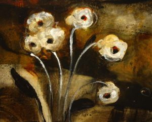 "SOLD ""The Darker Side of Sweet,"" by Susan Flaig 16 x 20 – acrylic/mixed media $800 Unframed"