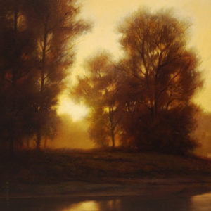 "SOLD ""Dawn – Kanaka Creek,"" by Renato Muccillo 8 x 8 – oil $1260 Custom framed"