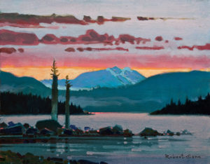 "SOLD ""Dawn on Discovery Passage, Campbell River, B.C.,"" by Robert Genn 14 x 18 – acrylic $5000 Unframed"
