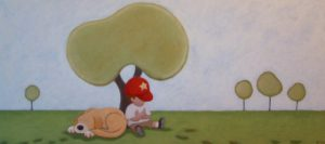 "SOLD ""Day Dreamers,"" by Peter Wyse 16 x 36 – acrylic $1050 (unframed panel with 1 1/2"" wide edging)"