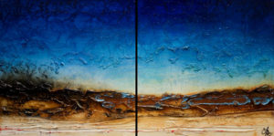 "SOLD ""Deep Blue Journey,"" by Laura Harris diptych – 24 x 48 overall size – acrylic $3450 (thick canvas wrap without frame)"