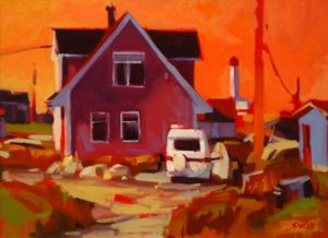"""SOLD """"Delivery (Peggy's Cove),"""" by Mike Svob 12 x 16 – acrylic $1115 Framed"""