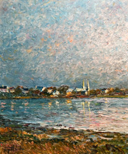 "SOLD ""Dernier rayons de soleil,"" by Raynald Leclerc (Last Rays of the Sun) 20 x 24 – oil $2200 Unframed"