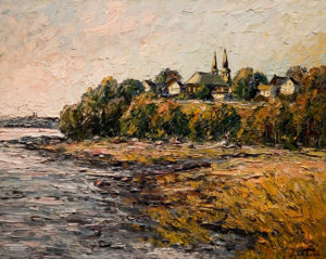 "SOLD ""Deschambault,"" by Raynald Leclerc 24 x 30 – oil $2400 Unframed"