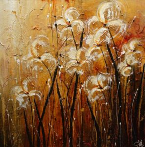 """SOLD """"Desert Dancers,"""" by Laura Harris 48 x 48 – acrylic $6470 (thick canvas wrap without frame)"""