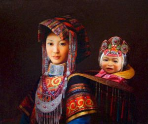 "SOLD ""A Devoted Mother,"" by Dongmin Lai 20 x 24 – oil $7500 Framed"