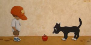 "SOLD ""Did You Ever Wonder?"" by Peter Wyse 12 x 24 – acrylic $900 (unframed panel  with 1 1/2"" wide edging)"