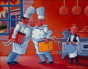 """SOLD """"A Difference of Opinion,"""" by Michael Stockdale 11 x 14 – acrylic $600 Framed"""