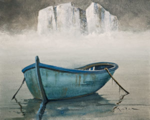 "SOLD ""Distant Ice,"" by Mark Fletcher 8 x 10 – acrylic $550 (thick canvas wrap without frame) $640 Custom framed"