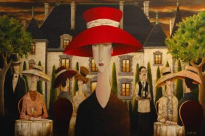 "SOLD ""Diva at the Grand Chateau,"" by Danny McBride 48 x 72 – acrylic $13,700 Unframed (thick canvas wrap without frame)"